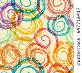 abstract hand drawn swirl... | Shutterstock .eps vector #647716417