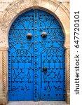 Blue Door In North African Cit...