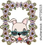 greeting card dog with flowers