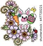 cute easter bunny on flowers  | Shutterstock .eps vector #647720221