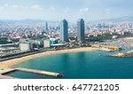 beach in barcelona seaside.... | Shutterstock . vector #647721205