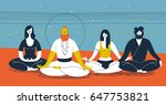 group of people sitting in yoga ... | Shutterstock .eps vector #647753821