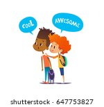 two multiracial boys with... | Shutterstock .eps vector #647753827