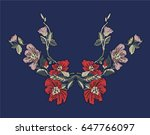 flower embroidery design.women... | Shutterstock .eps vector #647766097
