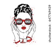 beautiful girl with glasses.... | Shutterstock .eps vector #647769439