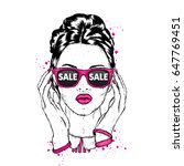 beautiful girl with glasses.... | Shutterstock .eps vector #647769451