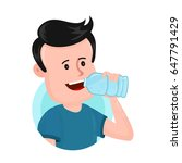 young man guy drink water from... | Shutterstock .eps vector #647791429