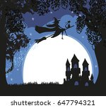 witch flying on a broom in...   Shutterstock .eps vector #647794321