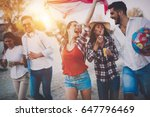 group of happy young people... | Shutterstock . vector #647796469