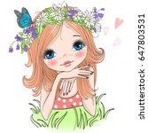 hand drawn beautiful cute girl... | Shutterstock .eps vector #647803531