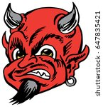 Mascot Devil Head, proud and tough, which gives tribute to traditional school mascots but with a new look and attitude. Suitable for all sports. - stock vector