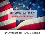 text memorial day and honor on... | Shutterstock . vector #647842585