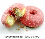 2 Pink Doughnuts  One With Bit...