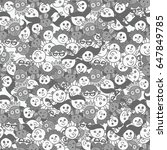 seamless pattern with cute... | Shutterstock .eps vector #647849785