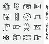 photography icon. set of 16... | Shutterstock .eps vector #647862685