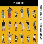 diverse of people enjoy music... | Shutterstock . vector #647867389