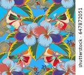 floral seamless pattern... | Shutterstock .eps vector #647872051