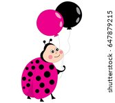 Vector Cute Ladybug With...