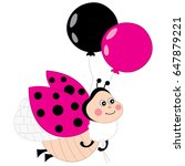 Vector Cute Ladybug Flying Wit...