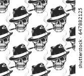 hand drawn skull seamless...   Shutterstock .eps vector #647882125