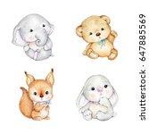set of cute baby animals  teddy ...   Shutterstock . vector #647885569