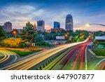 Winston-Salem, North Carolina, USA skyline and highway.