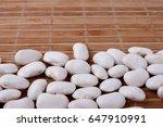 White Beans On  Bamboo Mat....