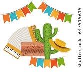 White Background With Cactus...