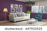 interior living room. 3d... | Shutterstock . vector #647923525