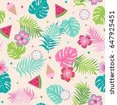 cute tropical seamless pattern... | Shutterstock .eps vector #647925451
