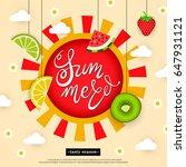 banner hello summer. tasty... | Shutterstock .eps vector #647931121