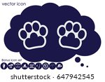 paw icon vector. | Shutterstock .eps vector #647942545