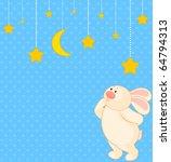 vector cartoon little toy bunny ... | Shutterstock .eps vector #64794313