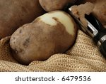 Close Up Of Fresh Potatoes With ...