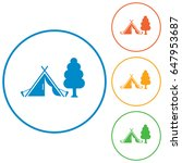 stylized icon of tourist tent.... | Shutterstock .eps vector #647953687