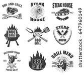 set of steak house labels. bbq  ... | Shutterstock .eps vector #647960149