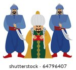 happy sultan with his guards.  | Shutterstock .eps vector #64796407