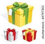 gift box in 3 color versions.  | Shutterstock .eps vector #64797301