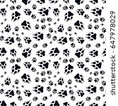 paw print seamless. traces of... | Shutterstock .eps vector #647978029