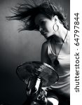 girl with fan studio   Shutterstock . vector #64797844