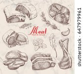 set of hand drawn meat isolated....   Shutterstock .eps vector #647979961