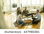 group of happy young people... | Shutterstock . vector #647980381