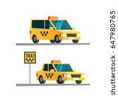 taxi car. vector illustration. | Shutterstock .eps vector #647980765