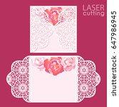 laser cut wedding invitation... | Shutterstock .eps vector #647986945