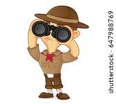 boy scout cartoon holding... | Shutterstock .eps vector #647988769