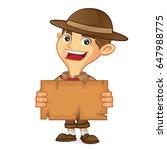 boy scout cartoon holding map... | Shutterstock .eps vector #647988775