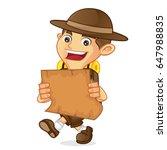 boy scout cartoon holding a map ... | Shutterstock .eps vector #647988835