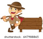 boy scout cartoon leaning on... | Shutterstock .eps vector #647988865