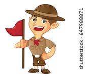 boy scout cartoon holding flag... | Shutterstock .eps vector #647988871