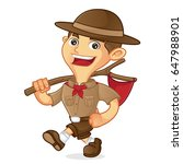 boy scout cartoon walking and... | Shutterstock .eps vector #647988901